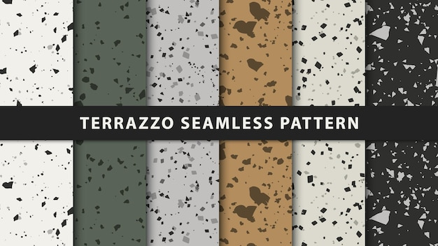 Set of terrazzo seamless patterns. premium vector