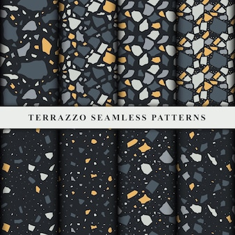 Set of terrazzo seamless patterns. terrazzo floor pattern.