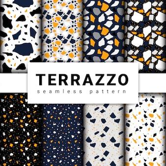 Set of terrazzo seamless patterns. terrazzo floor pattern