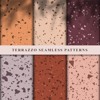 Set of terrazzo seamless patterns.