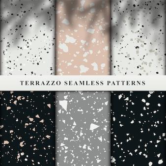 Set of terrazzo seamless patterns.