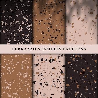 Set of terrazzo style seamless patterns.