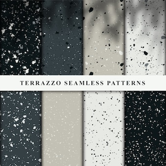 Set of terrazzo style seamless patterns.