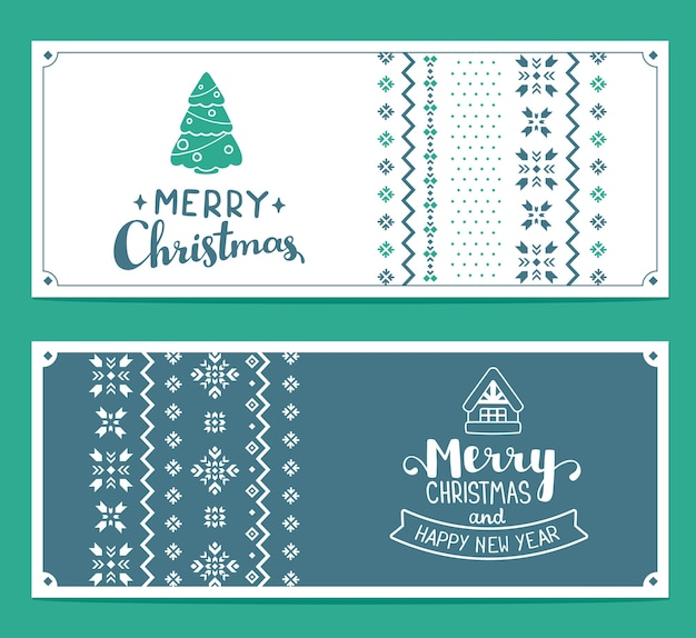 Set of text merry christmas and knitting pattern