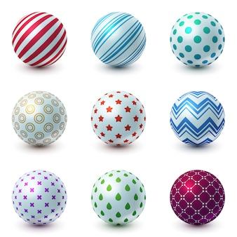 Set texture ball realistic icon