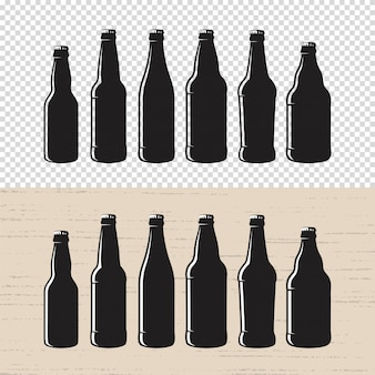 Set of textured craft beer bottle label .