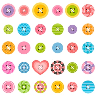 Set of textured sewing buttons