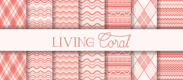 Set of textures living coral patterns