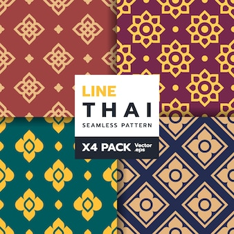 Set of thai traditional art seamless pattern in new style