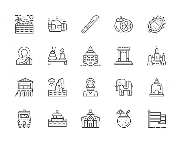 Set of thailand culture line icons.