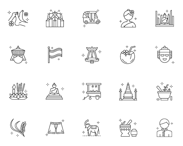 Set of thailand culture outline icons