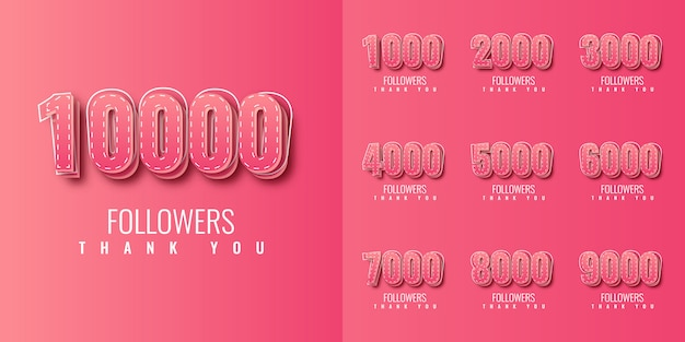 Set thank you 1000 2000 to 10000 followers illustration template design