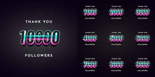 Set thank you 1000 followers to 10000 illustration template design