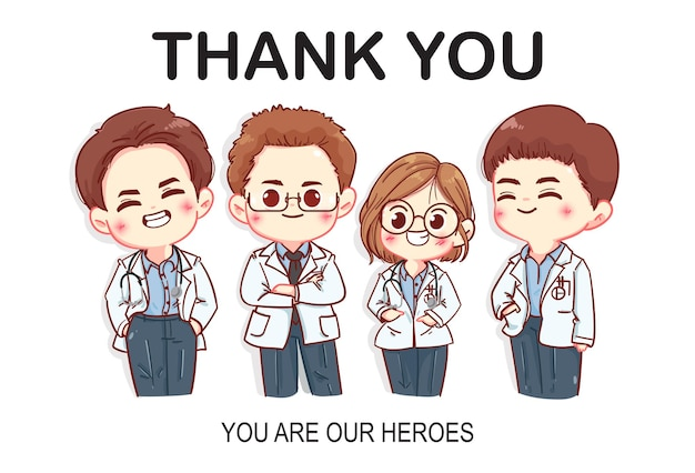 Set of thank you doctors characters cartoon art illustration
