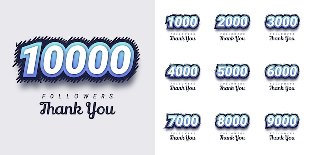 Set thank you followers creative number illustration template