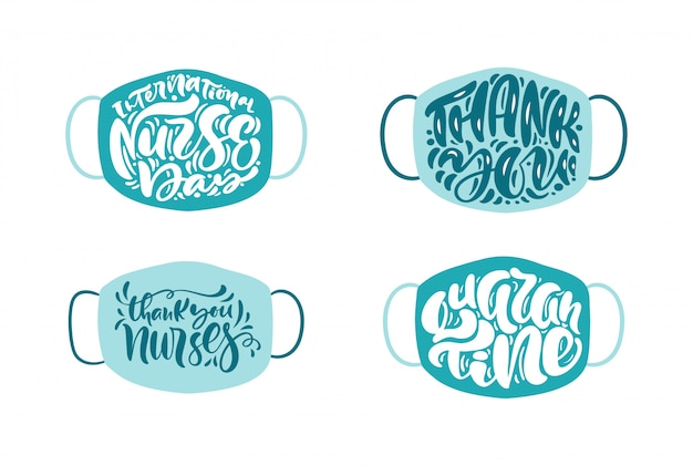 Set thank you nurses lettering vector text on white mask background