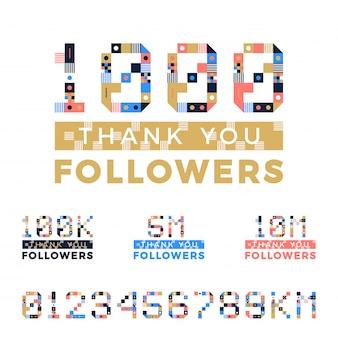 Set of thanks followers