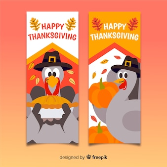 Set of thanksgiving day hand drawn banners