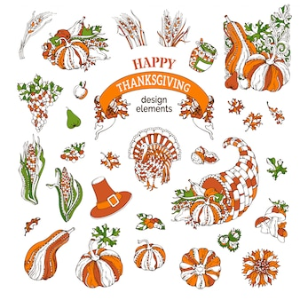 Set of thanksgiving design elements.