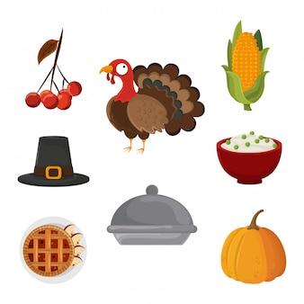 Set of thanksgiving food