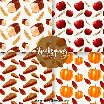 Set of thanksgiving patterns with delicious food