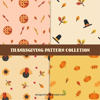 Set of thanksgiving patterns with elements in flat design