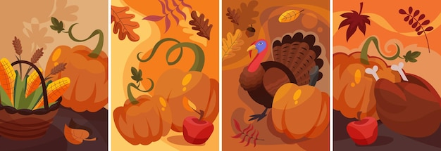 Set of thanksgiving posters in cartoon style. different placards designs.