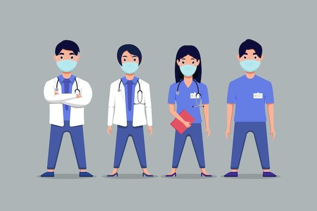 Установить характер медицинского персонала остановить covid-19, дизайн векторной иллюстрации