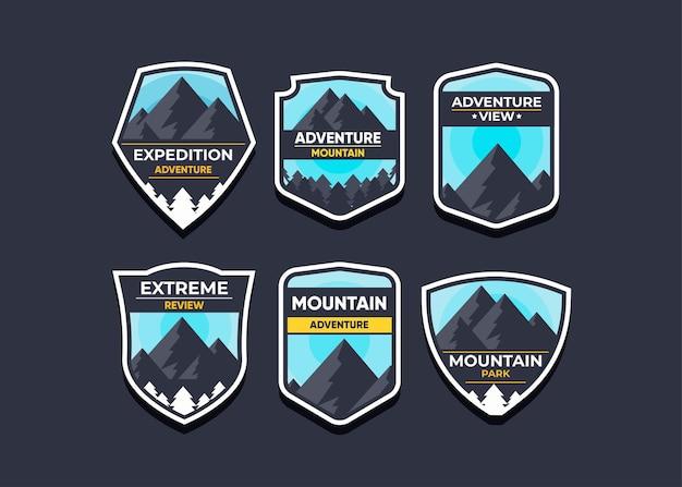 Установите логотип горы и значки.
