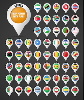 アフリカの国々の旗とその名前が付いた地図へのポインタを設定します。