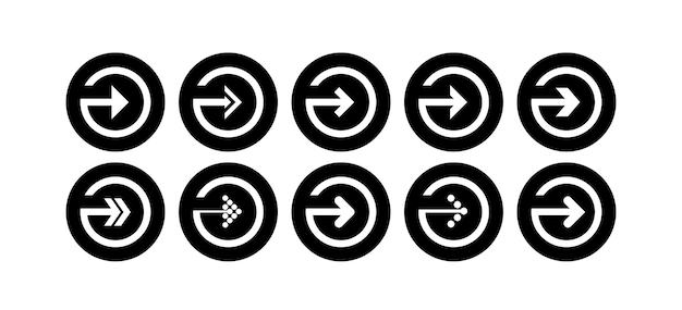 검은색 화살표 아이콘의 벡터를 원 모양으로 설정