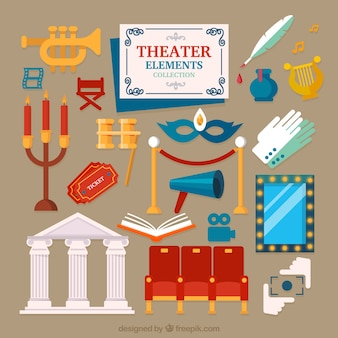 Set of theater elements in flat design