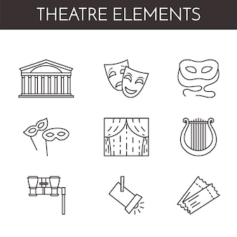 Set of theatre related line icons