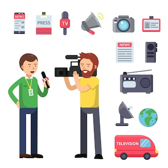 Set thematic symbols of broadcasting and interview