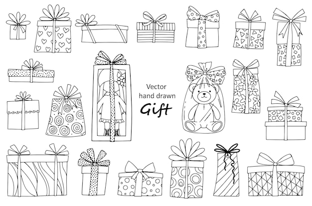 Set on the theme of gifts: gift boxes, doll, teddy bear. vector linear illustration for printing, coloring, and other design elements.