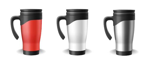 Set of thermo cups realistic blank templates in red, white and silver. 3d travel mug and thermos for hot drinks isolated on white background. vector illustration