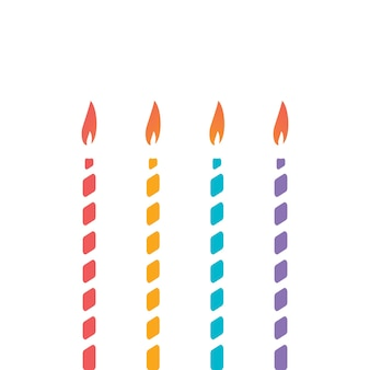 Set of thin decorative candle for cake decoration of childrens holiday birthday anniversary