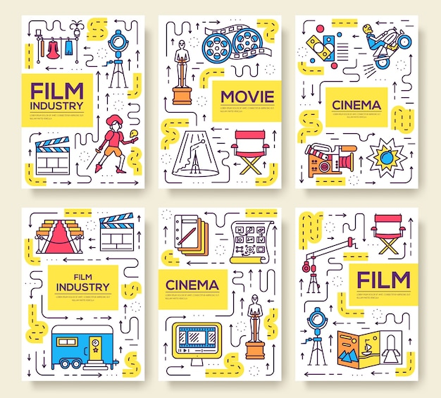 Set of thin line cinema vacation pattern concept