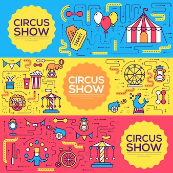 Set of thin line circus pattern concept