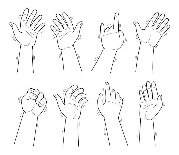 Set of thin line hands in different gestures emotions and signs