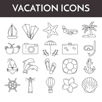 Set of thin line icons with vacation symbols