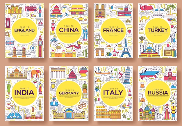 Set of thin line travel world country