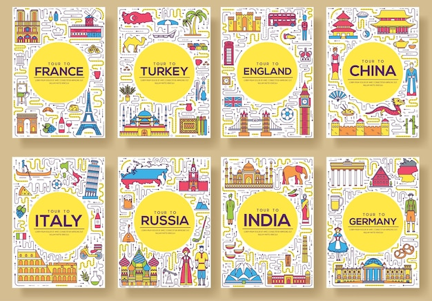 Set of thin line travel world country Premium Vector