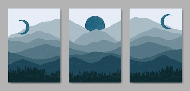 Set of three abstract aesthetic mid century modern landscape contemporary boho poster cover template.