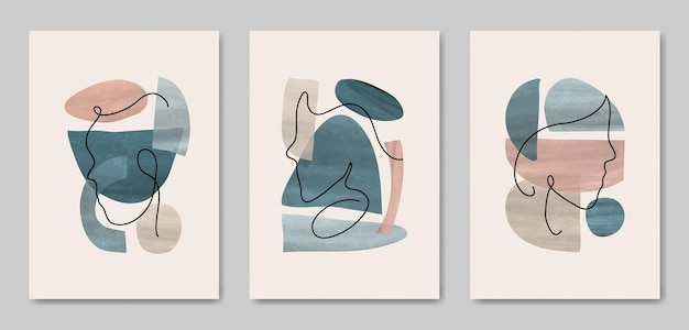 Set of three abstract aesthetic mid century modern line art face portrait and leaves contemporary boho poster cover template.