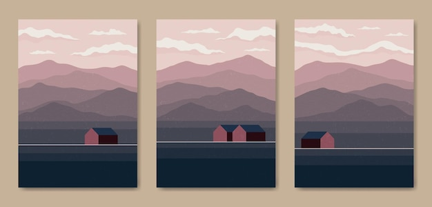 Set of three abstract aesthetic mid century modern scenery landscape contemporary boho poster