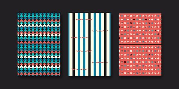 Set of three abstract geometric memphis shapes.