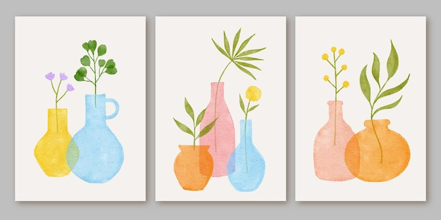 Set of three abstract modern aesthetic mid century contemporary boho poster