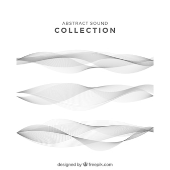 Set of three abstract sound waves