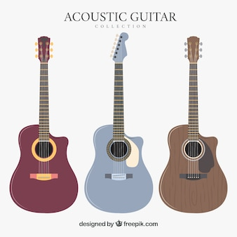 Set of three acoustic guitars